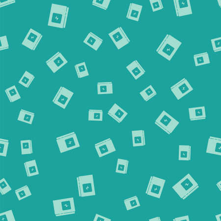 Green Electrical panel icon isolated seamless pattern on green background. Vector 向量圖像