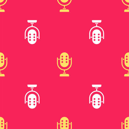 Yellow Microphone icon isolated seamless pattern on red background. On air radio mic microphone. Speaker sign. Vector
