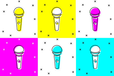 Set Microphone icon isolated on color background. On air radio mic microphone. Speaker sign. Vector
