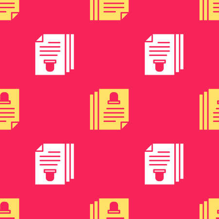 Yellow Death certificate icon isolated seamless pattern on red background. Vector