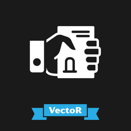 White Death certificate in hand icon isolated on black background. Vector