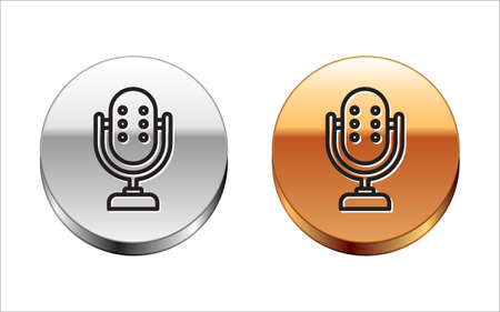 Black line Microphone icon isolated on white background. On air radio mic microphone. Speaker sign. Silver-gold circle button. Vector