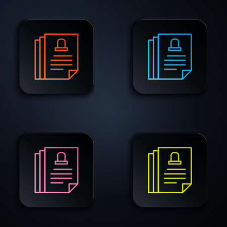 Color neon line Death certificate icon isolated on black background. Set icons in square buttons. Vector Ilustrace