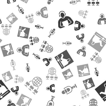 Set Student, Microphone, Online education and Computer network on seamless pattern. Vector Ilustração