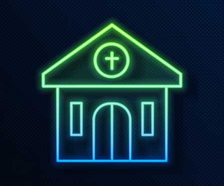 Glowing neon line Church building icon isolated on blue background. Christian Church. Religion of church. Vector
