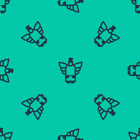 Blue line Christmas angel icon isolated seamless pattern on green background. Vector