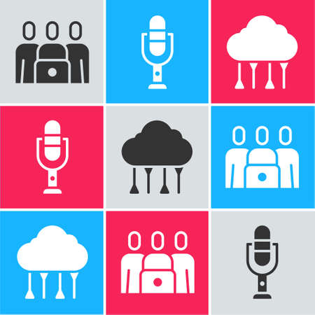 Set Online class, Microphone and Network cloud connection icon. Vector