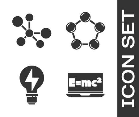 Set Equation solution, Molecule, Light bulb with lightning and Molecule icon. Vector