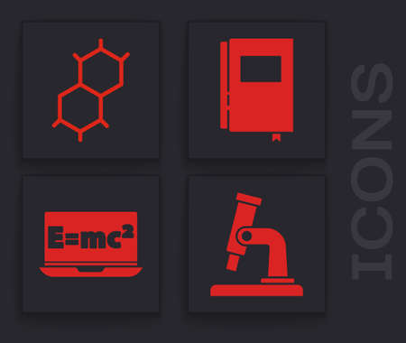 Set Microscope, Chemical formula, Book and Equation solution icon. Vector Ilustrace