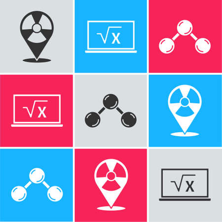 Set Radioactive in location, Square root of x glyph and Molecule icon. Vector