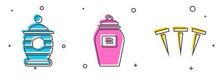 Set Funeral urn, Funeral urn and Metallic nails icon. Vector 矢量图像