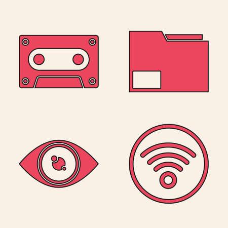 Set WiFi wireless internet network, Retro audio cassette tape, Document folder and Eye icon. Vector