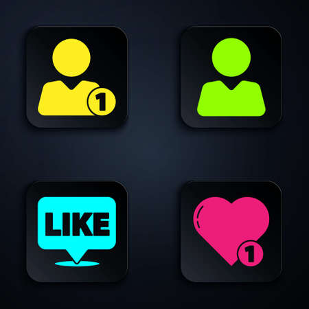 Set Like and heart, Add to friend, Like in speech bubble and Add to friend. Black square button. Vector