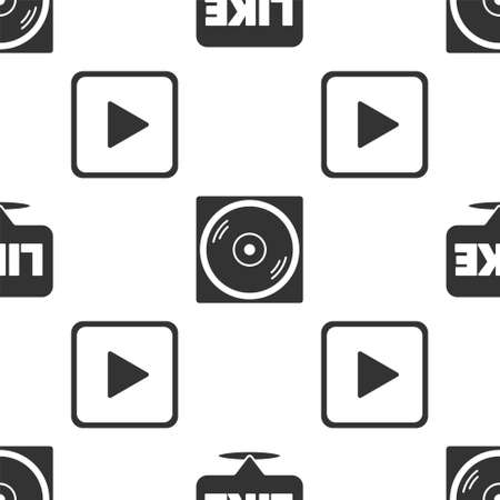 Set Like in speech bubble, Vinyl disk and Play in square on seamless pattern. Vector Illustration