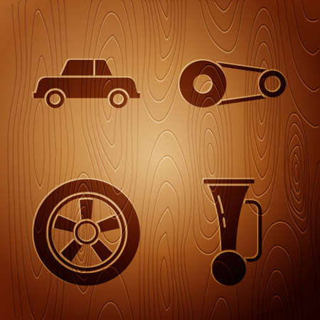 Set Signal horn on vehicle, Car, Car wheel and Timing belt kit on wooden background. Vector