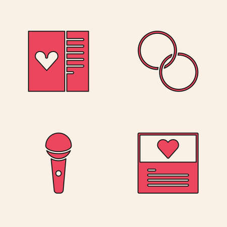 Set Greeting card, Postcard with heart, Wedding rings and Microphone icon. Vector Ilustração