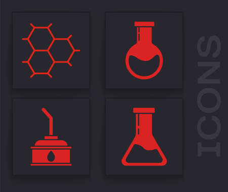Set Test tube and flask, Chemical formula consisting of benzene rings, Test tube and flask and Canister for motor machine oil icon. Vector