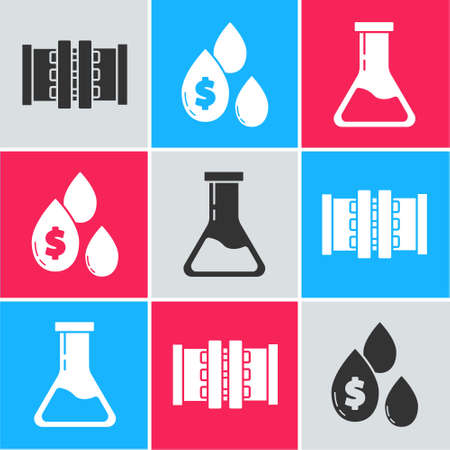 Set Industry metallic pipes and valve, Oil drop with dollar symbol and Test tube and flask icon. Vector