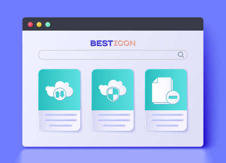 Set Cloud and shield, Cloud download and upload and Document with minus icon. Vector