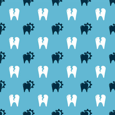 Set Tooth treatment procedure and Broken tooth on seamless pattern. Vector