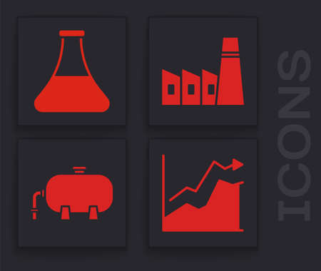 Set Oil price increase, Oil petrol test tube, Oil industrial factory building and Oil industrial factory building icon. Vector