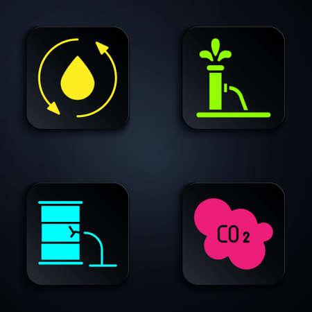 Set CO2 emissions in cloud, Oil drop, Barrel oil leak and Oil pump or pump jack. Black square button. Vector