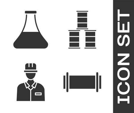 Set Industry pipe, Oil petrol test tube, Oilman and Barrel oil icon. Vector