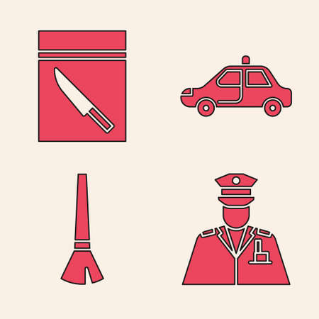 Set Police officer, Evidence bag and knife, Police car and flasher and Paint brush icon. Vector