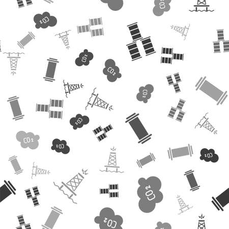 Set Barrel oil, CO2 emissions in cloud, Industry pipe and Oil rig with fire on seamless pattern. Vector Çizim