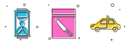 Set Old hourglass with sand, Evidence bag and knife and Police car and flasher icon. Vector