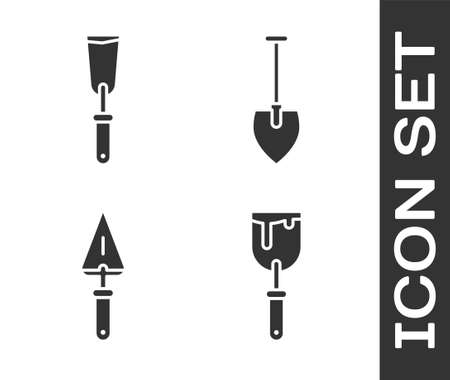 Set Putty knife, Putty knife, Trowel and Shovel icon. Vector