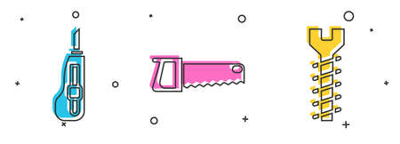 Set Stationery knife, Hand saw and Metallic screw icon. Vector