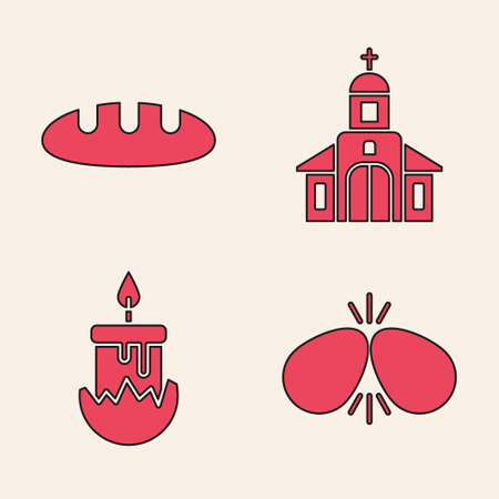 Set Easter eggs, Bread loaf, Church building and Burning candle icon. Vector Stock Illustratie