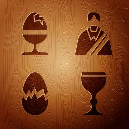 Set Wine glass, Chicken egg on a stand, Broken egg and Jesus Christ on wooden background. Vector Stock Illustratie