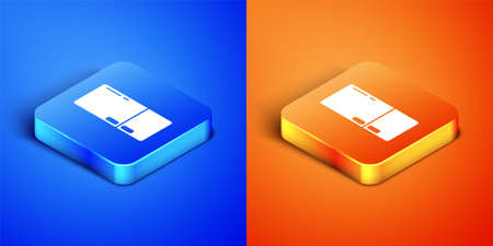 Isometric Refrigerator icon isolated on blue and orange background. Fridge freezer refrigerator. Household tech and appliances. Square button. Vector