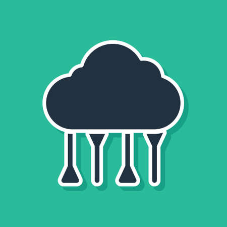 Blue Network cloud connection icon isolated on green background. Social technology. Cloud computing concept. Vector Illustration