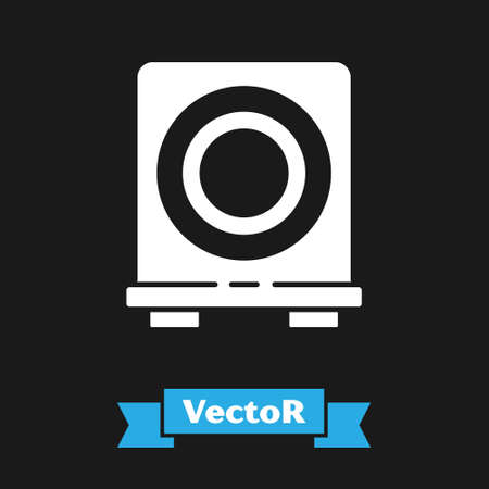 White Electric stove icon isolated on black background. Cooktop sign. Hob with four circle burners. Vector