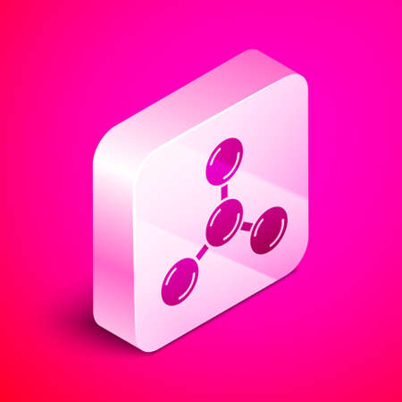 Isometric Molecule icon isolated on pink background. Structure of molecules in chemistry, science teachers innovative educational poster. Silver square button. Vector Illustration