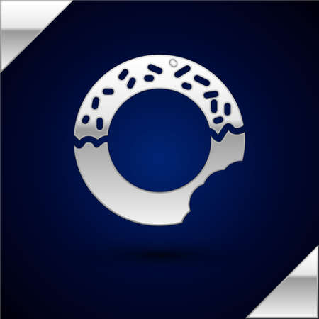 Silver Donut with sweet glaze icon isolated on dark blue background. Vector