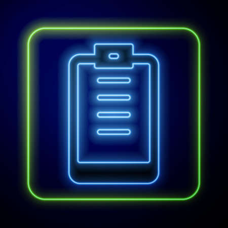 Glowing neon Clipboard with checklist icon isolated on blue background. Control list symbol. Survey poll or questionnaire feedback form. Vector