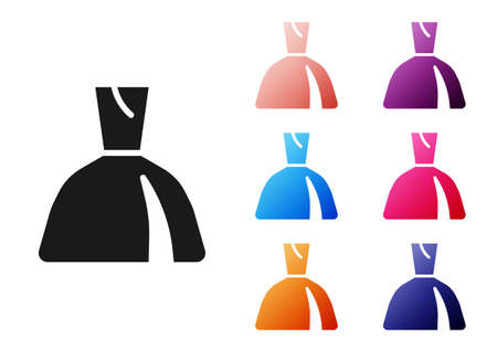 Black Woman dress icon isolated on white background. Clothes sign. Set icons colorful. Vector Illusztráció