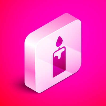 Isometric Burning candle icon isolated on pink background. Cylindrical candle stick with burning flame. Silver square button. Vector