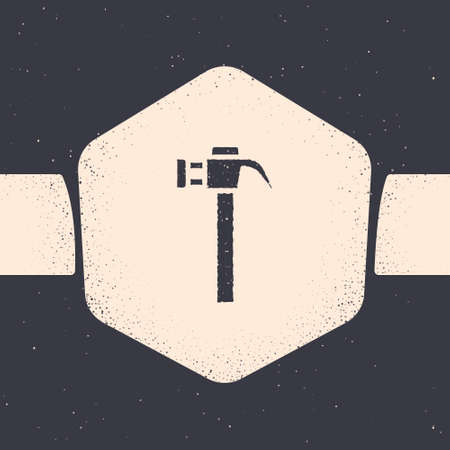 Grunge Hammer icon isolated on grey background. Tool for repair. Monochrome vintage drawing. Vector