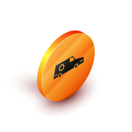 Isometric Hearse car icon isolated on white background. Orange circle button. Vector Stock Illustratie