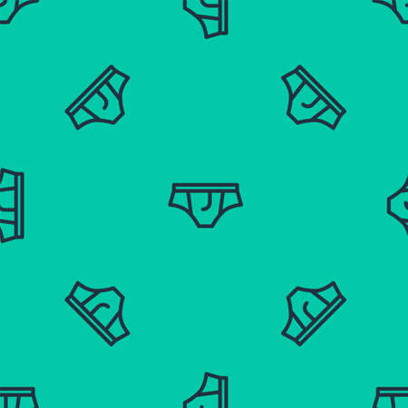 Blue line Underwear icon isolated seamless pattern on green background. Vector Illustration