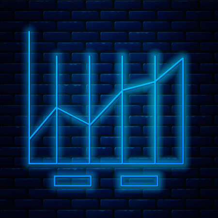 Glowing neon line chart infographic icon isolated on brick wall background. Diagram chart sign. Vector Illustration