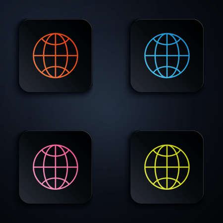 Color neon line Global technology or social network icon isolated on black background. Set icons in square buttons. Vector Illustration Illustration