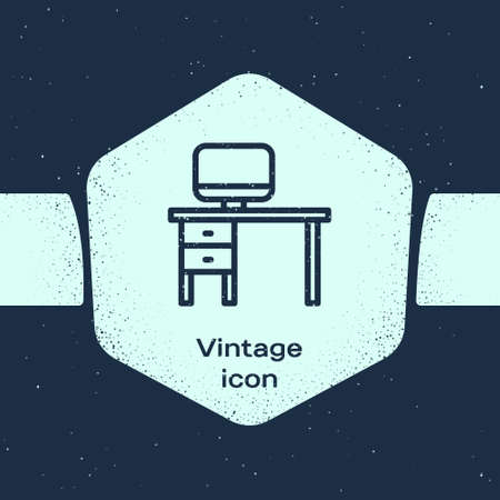 Grunge line Computer monitor and desk icon isolated on blue background. PC component sign. Monochrome vintage drawing. Vector Illustration
