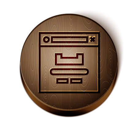 Brown line Browser window icon isolated on white background. Wooden circle button. Vector Illustration