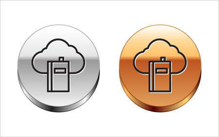 Black line Cloud or online library icon isolated on white background. Internet education or distance training. Silver-gold circle button. Vector Illustration